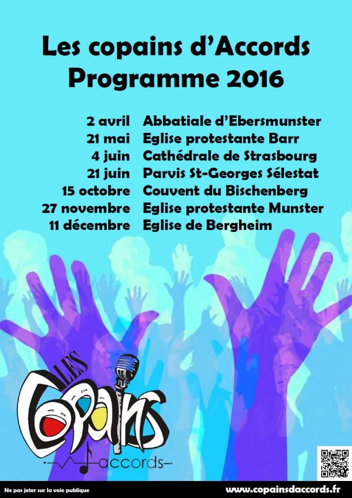 Programme des concerts pour 2016