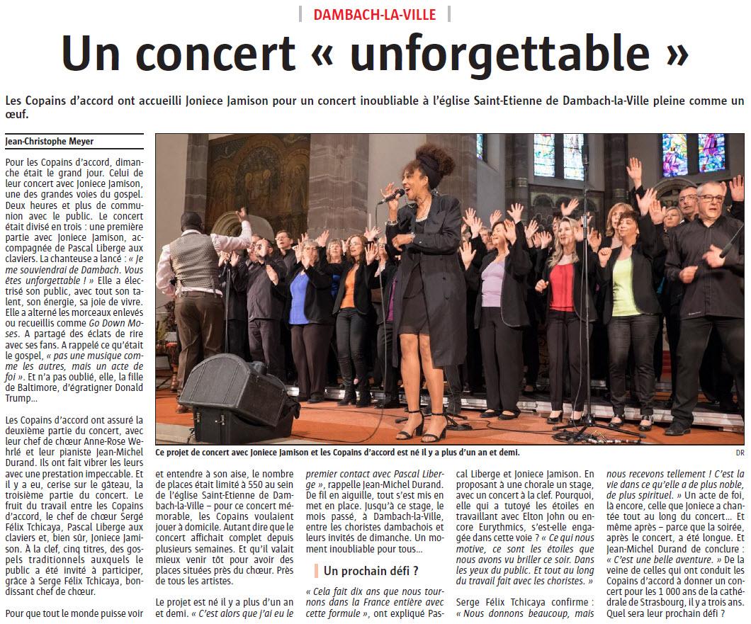 L'Alsace du 19 avril 2018 – Un concert «unforgettable»